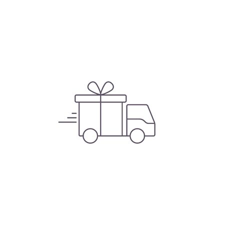 Delivery truck with gift box line Icon. Vector flat style illustration isolated on white background. Stock Illustratie