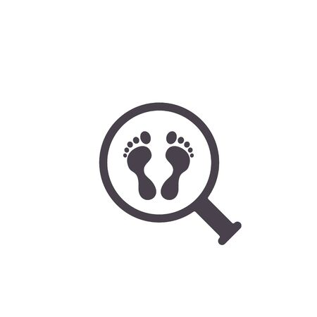 Footprint searching icon, vector sign, flat style illustration isolated on white.