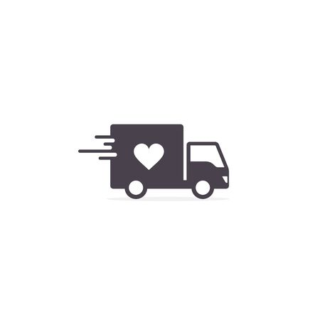 Delivery Truck with heart, Donation truck outline icon. Charity truck simple line vector icon.