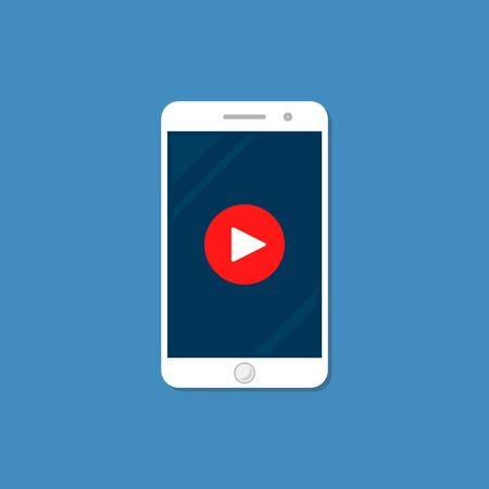 Smartphone with Player sign, Video Icon Vector Template on blue background.