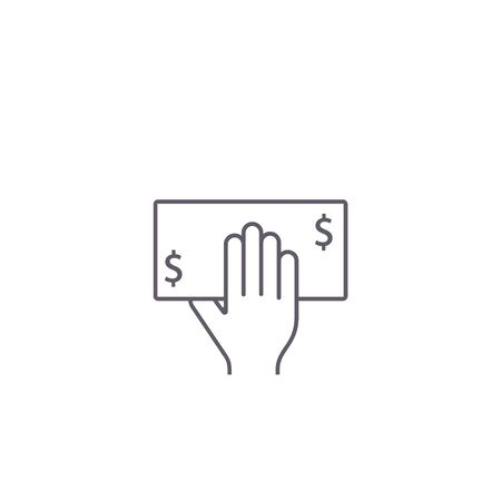Money on hand line icon, hand take cash money from ATM ilustration.