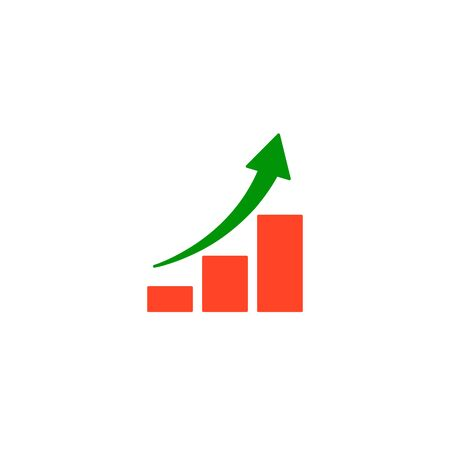 Growing graph icon Vector isolated flat illustration. Business Success concept. Stock Illustratie