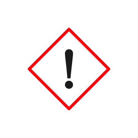 WARNING icon. Exclamation mark on rhombus sign. Vector illustration.