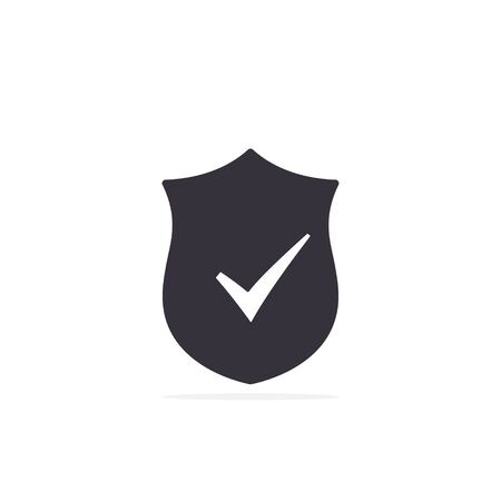 Shield with checkmark symbol Vector isolated flat icon.