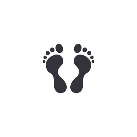 Footprint icon, foot print symbol. Vector isolated flat foot step illustration. Stock Illustratie