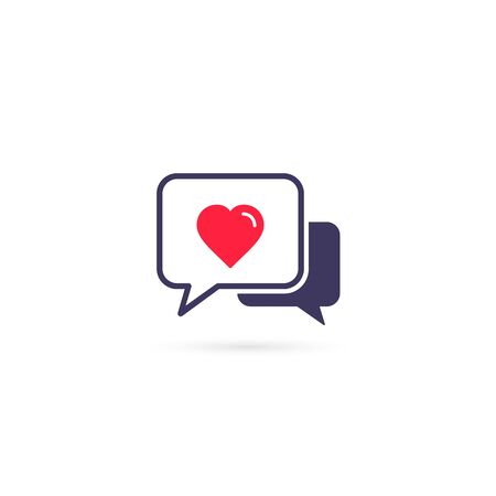 Speech bubble with heart icon on white background, vector isolated flat illustration.