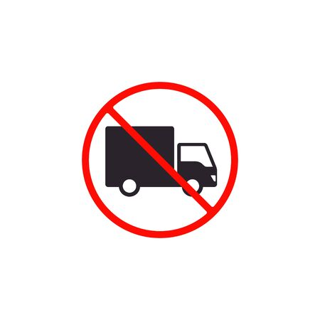 No truck icon or no parking sign. Vector isolated illustration.