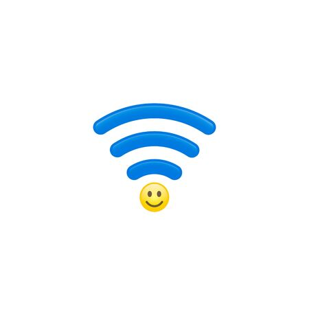 Smile Wi Fi waves icon, Share a good mood concept. Vector illustration. Çizim