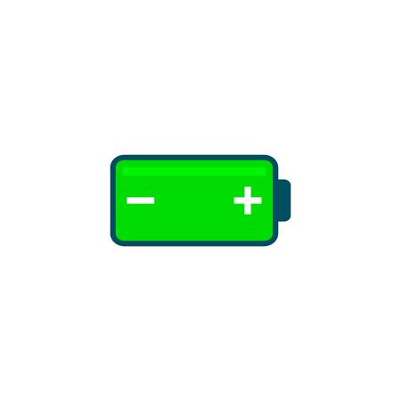 Battery icon Vector isolated simple color energy flat sign.