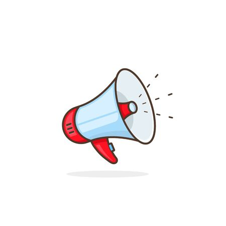 Megaphone symbol on white background, vector illustration. Ilustração
