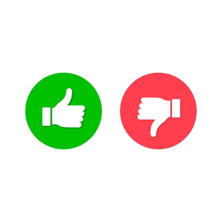 Thumbs up thumbs down symbol, Like and dislike icon isolated on circle. Vector.