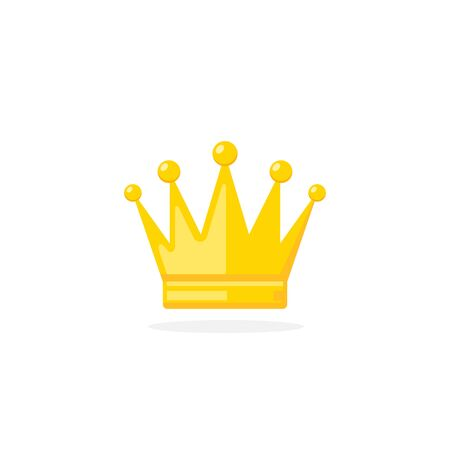 Crown Icon in flat style isolated on white background. Crown yellow symbol Vector illustration.