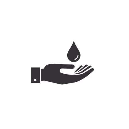 Drop in hand icon. Vector isolated flat design illustration. Illustration