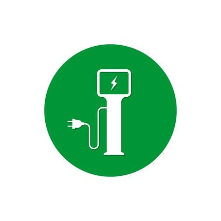 Charging station for electric car icon Vector Illustration. Charging station symbol in circle.