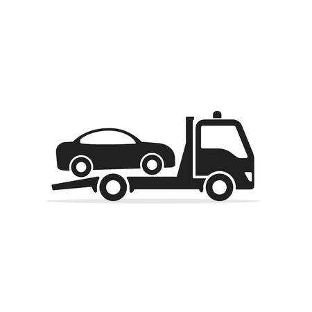 Icône de camion de remorquage, camion de remorquage avec signe de voiture. Illustration de design plat isolé de vecteur.