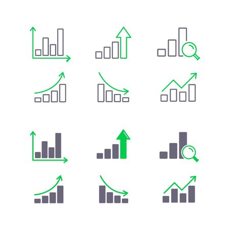 Growing graphs and growth charts icon set, vector illustration. Stock Illustratie