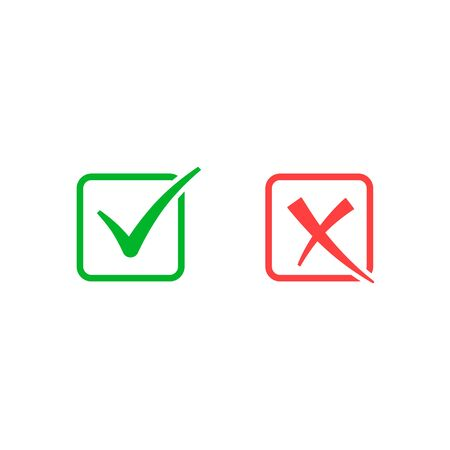 Check mark and cross icon, approved and rejected sign. Vector isolated illustration.