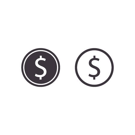 Coin Icon, Vector money isolated flat design illustration. Ilustrace