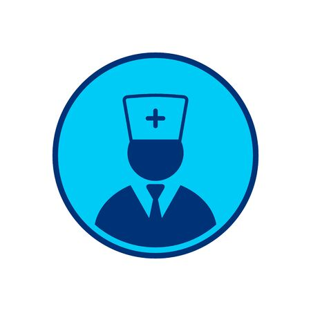 Doctor Icon button, Vector isolated flat design illustration.  イラスト・ベクター素材