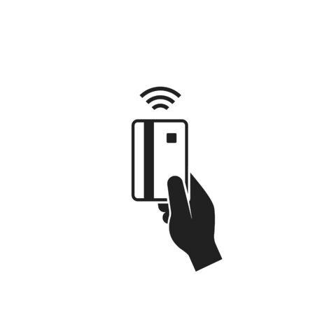 Contactless payment, credit bank card in Hand. NFC concept icon. Vector isolated symbol.