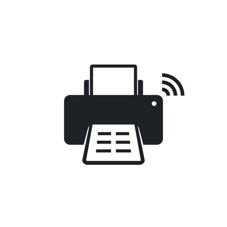 Wireless printer with wifi icon, Vector isolated flat design illustration.