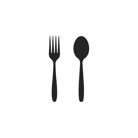 Fork and spoon icon, Vector isolated flat design illustration.
