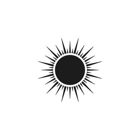 Sun icon, Vector isolated flat design black symbol.  イラスト・ベクター素材