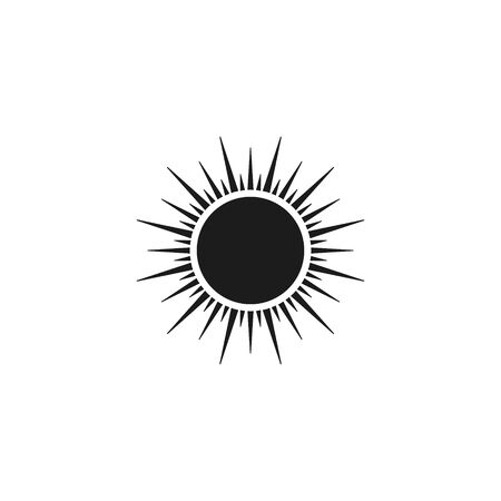 Sun icon, Vector isolated flat design black symbol. Ilustrace