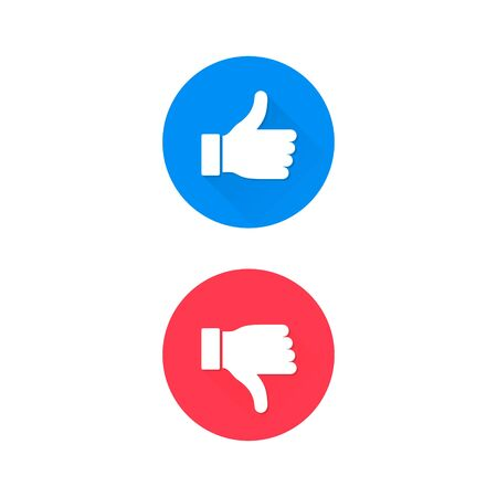 Thumbs up and down icon Vector, like blue and dislike red button isolated on white.