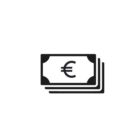 Money Cash Icon in flat style isolated on white. Euro Currency Money symbol Vector illustration.  イラスト・ベクター素材