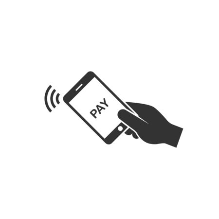 Contactless payment, Phone In Hand Tap Wireless Payment Flat Vector Icon.