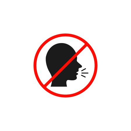 No talking sign, Vector isolated simple icon.