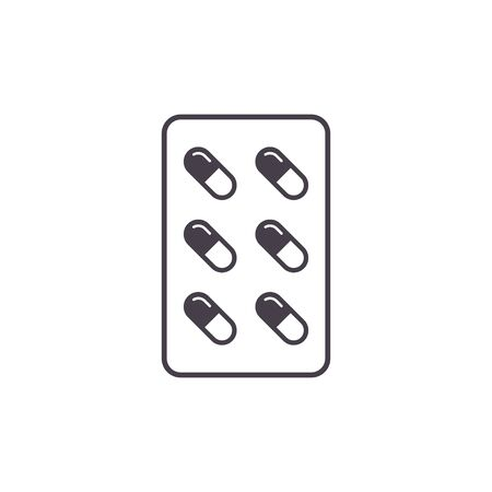 Pills icon, tablets pharmacy sign, Vector isolated flat sign.
