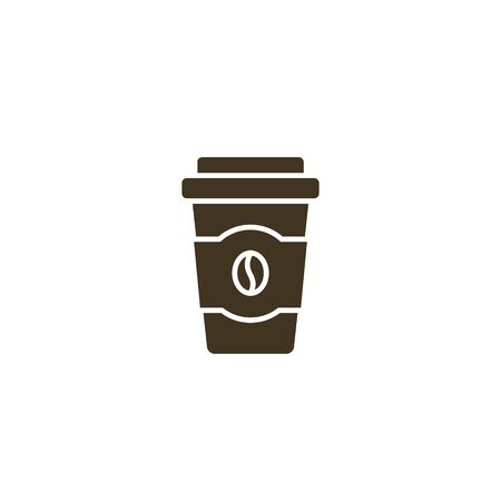 Disposable coffee cup icon, take away coffee cup symbol Vector illustration flat design.