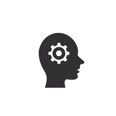 Man head with gear icon, Human head thinking. Vector isolated illustration.