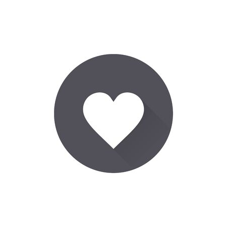 Love icon. Heart sign in Circle flat button with shadow. Vector.