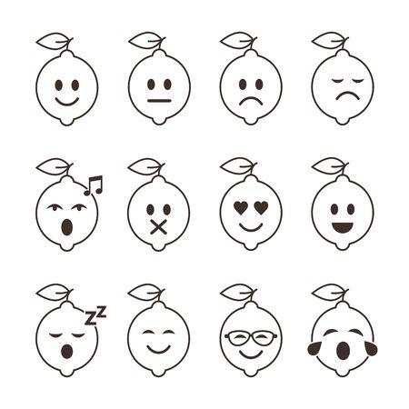 Lemon smile emoticon cartoon set character. Different mood lemon Fruits vector illustration.