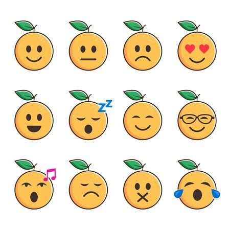 Orange smiles set, emoticon with different mood. Vector cartoon illustration.