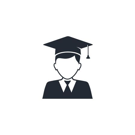 Graduate student boy in square hat vector icon. Male in mortar hat and graduation academic wear.  イラスト・ベクター素材