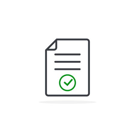 Approved document, Agreement Paper Icon, flat Illustration Design. Vector.