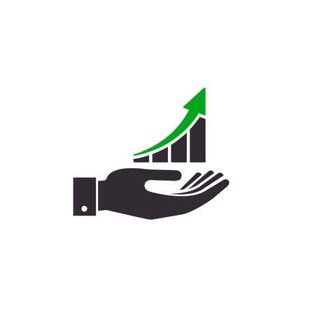 Growing graph icon on the hand, Vector success concept illustration.