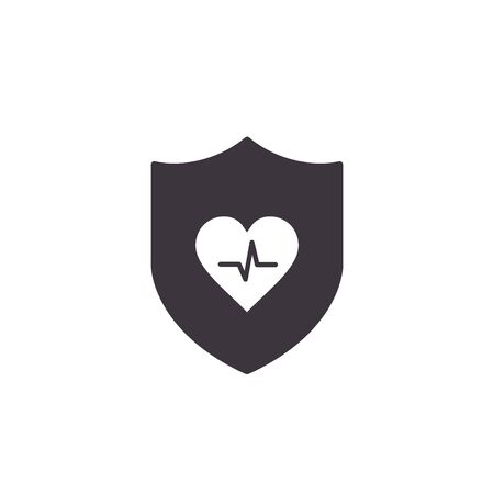 Shield icon with Heartbeat sign Isolated on White Background, Vector illustration.  イラスト・ベクター素材