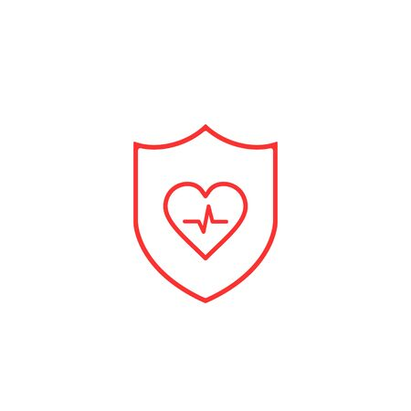 Shield icon with Heartbeat line sign Isolated on White, Vector illustration.