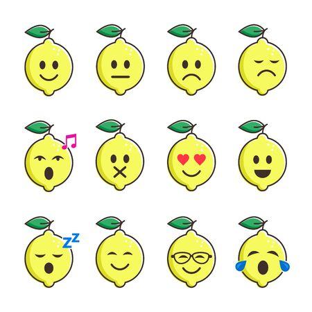 Lemon smile emoticon cartoon set character. Different moods lemon Fruits vector color collection.  イラスト・ベクター素材