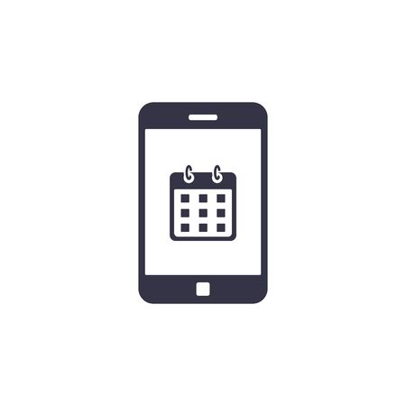 Calendar on smartphone screen icon. Planning or schedule, appointment, concept. Vector illustartion.