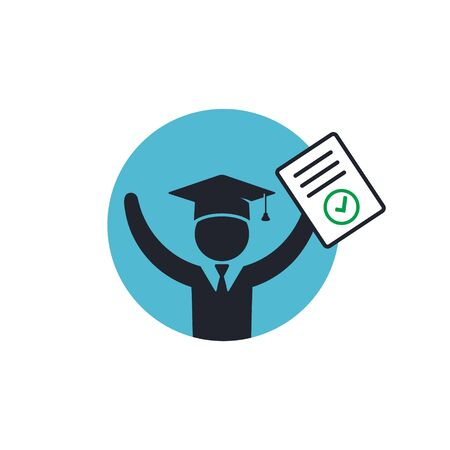 Graduate Student with completed document. Vector icon isolated on round.  イラスト・ベクター素材