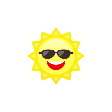 Smiling Sun with sunglasses Cartoon Character Illustration in Vector.