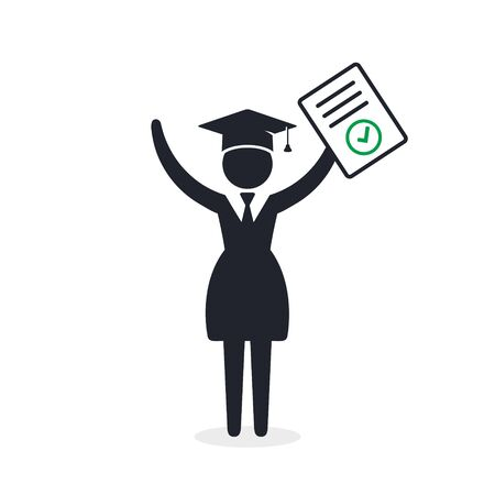 Graduate Student girl with completed test. Vector icon isolated on white.