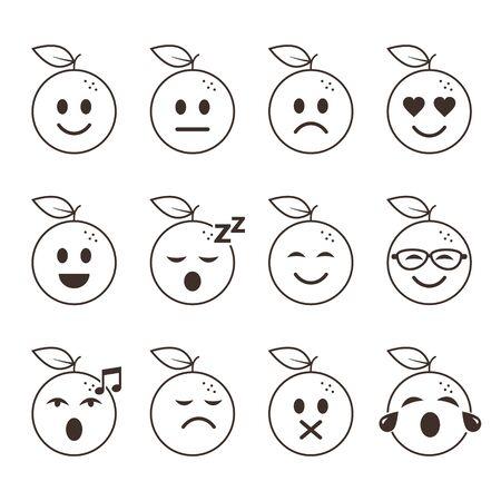 Orange fruit smiles set, emoticon with different moods. Vector cartoon line illustration.
