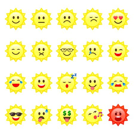 Sun Smile emoticon cartoon set Vector icons. Different Character or mood on sun smiley face.